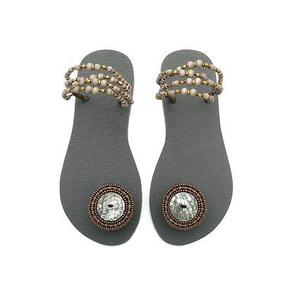 Boho Green Abalone Grey Sandals