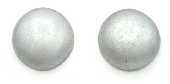 Silver Wood Button Earrings