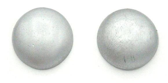 Silver Wood Button Earrings