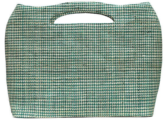 Sophisticated Weaved Bag Green Houndstooth