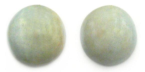 Alice Blue Wood Button Earrings