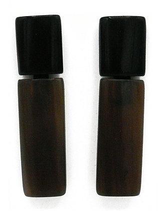Rectangle Black Horn Earrings