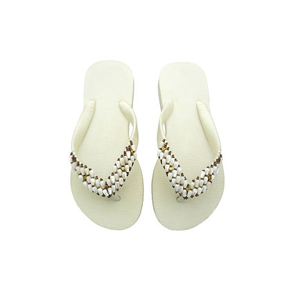White Mother of Pearl Beads Sandals