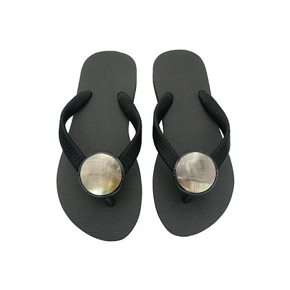 Black Mother of Pearl Button Sandals