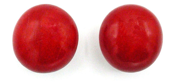 Lava Red Wood Button Earrings
