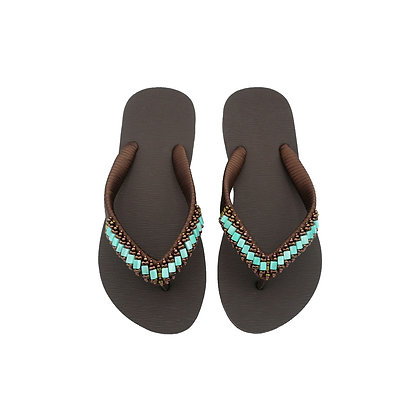 Royal Turquoise Beads Brown Sandals