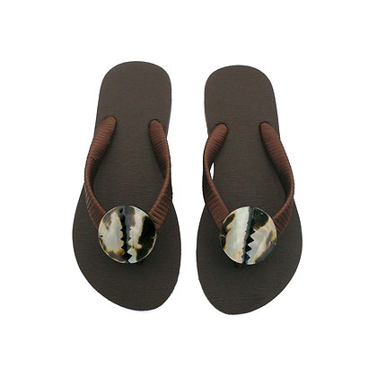 Brown Mother of Pearl Diamonds Button Sandals