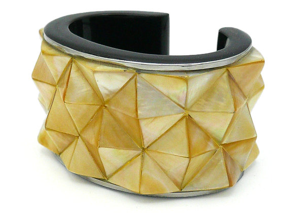 Gold Mother of Peal Studs Cuff