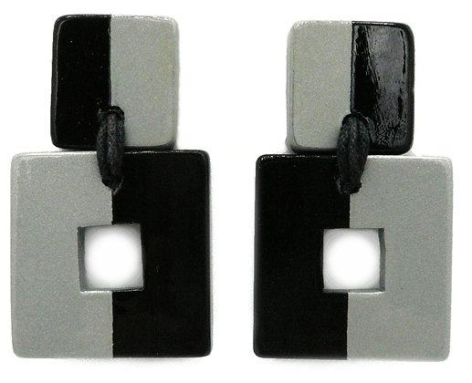 Square Silver Horn Earrings