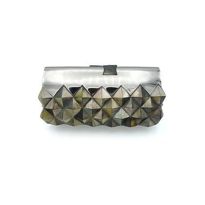 Silver Shell Studs Evening Bag