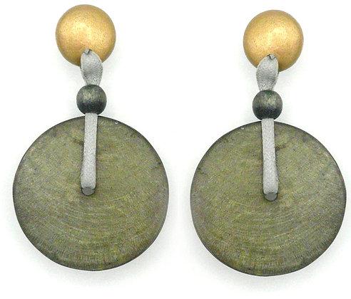 Capiz Shell Disc Earrings - Gold & Grey