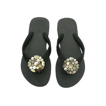 Black Mother of Pearl Dots Button Sandals