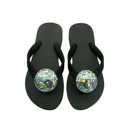 Paua Shell Brick Button Sandals