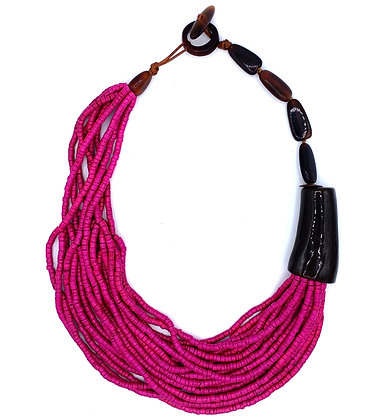 Poppy Beads Necklace - Fuchsia