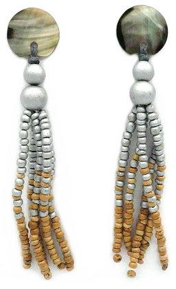 The Great Gatsby Silver Shell Tassel Earrings