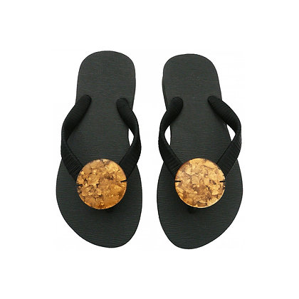 Crushed Gold Capiz Shell Button Sandals