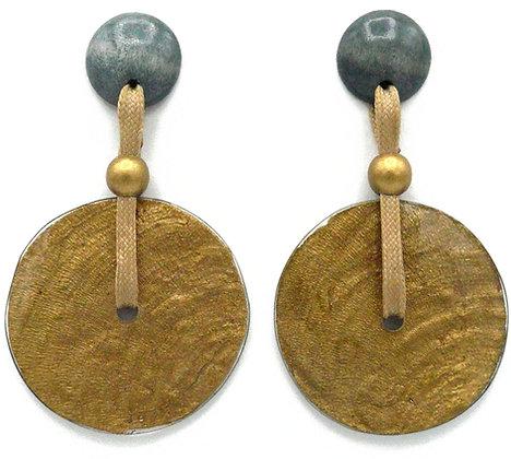 Capiz Shell Disc Earrings - Grey & Gold