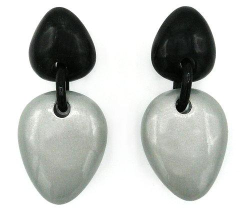 Silver Egg Horn Earrings