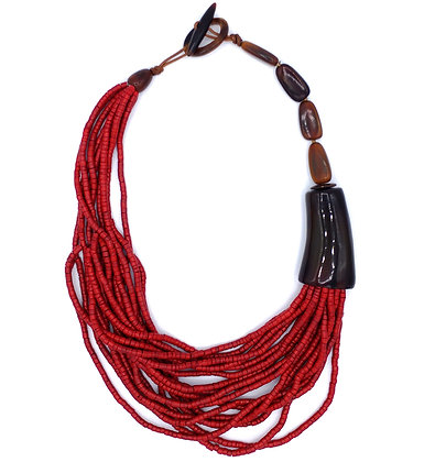 Poppy Beads Necklace - Red