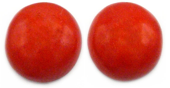 Fire Red Wood Button Earrings