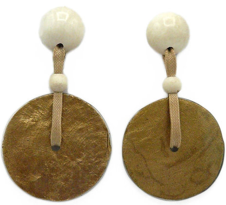 Capiz Shell Disc Earrings - White & Gold