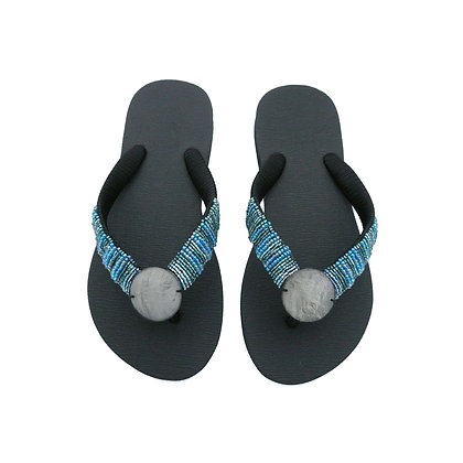 Silver and Blue Capiz Shell Sandals
