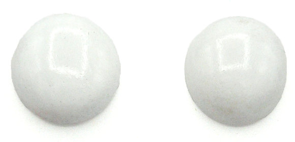 Snow White Wood Button Earrings