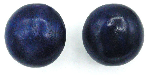 Midnight Blue Wood Button Earrings