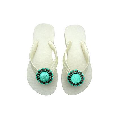 Turquoise Capiz Button Sandals