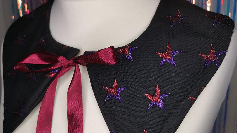 Black Star Print Print Peter Pan Collar