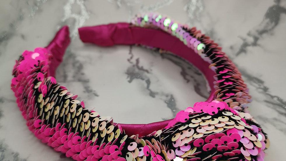 Sequin Headband Bright Pink