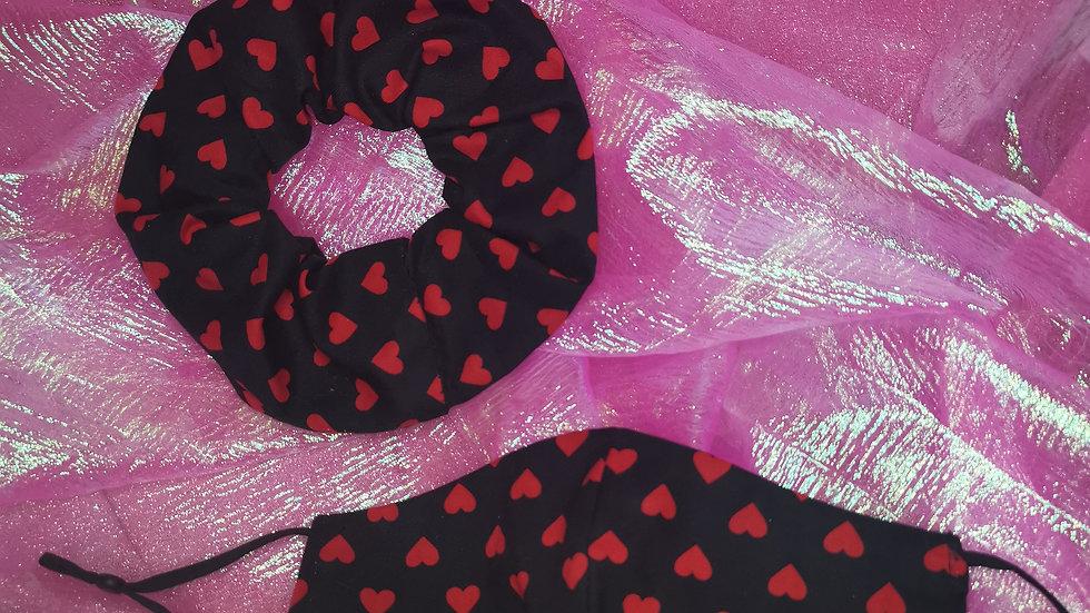 Black heart print scrunchie and mask