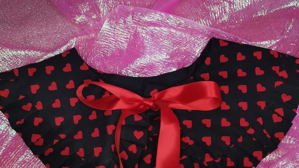 Black Heart Print Peter Pan Collar