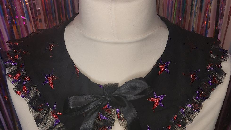 Black Star Ruffle Print Peter Pan Collar