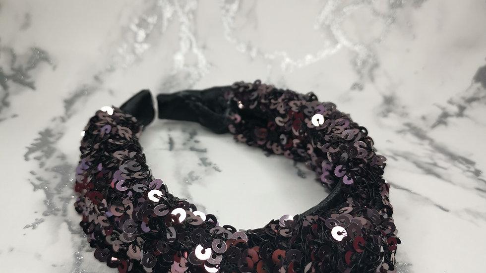 Sequin Headband Gunmetal Grey