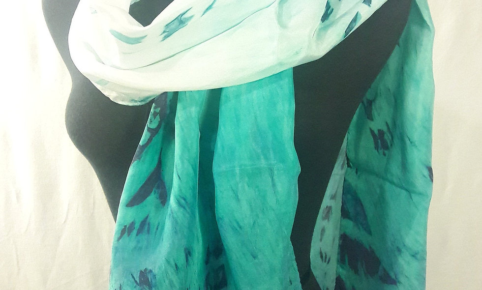 Handpainted 100% silk scarf
