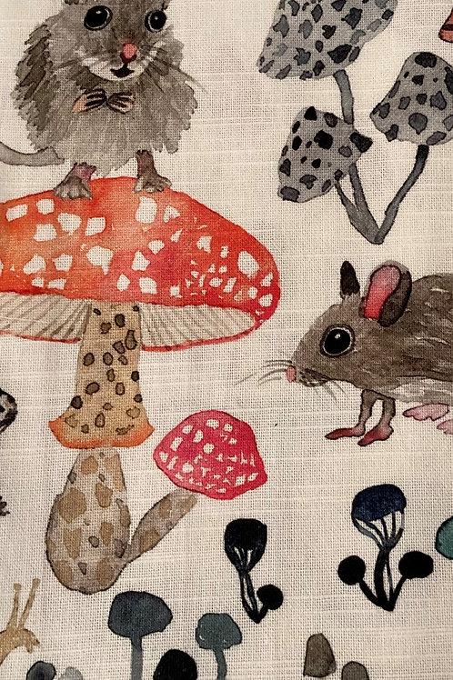 Tea Towel- Field Mice & Mushrooms