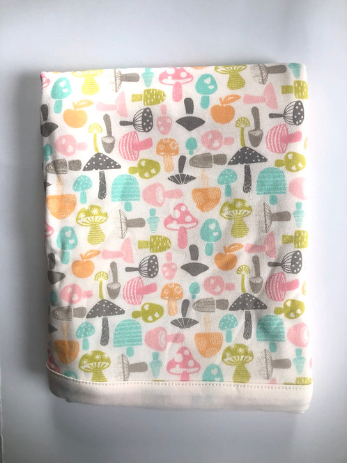 Multi colored Mushroom Print Baby Blanket