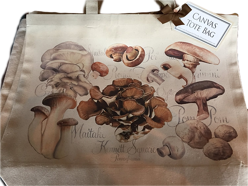 Reusable Canvas Tote with mushroom print