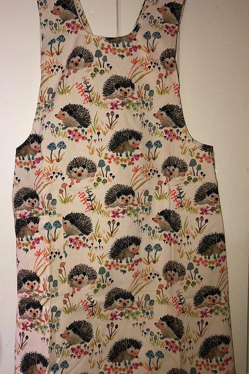 Pinafore apron in Mushroom & Hedgehog print