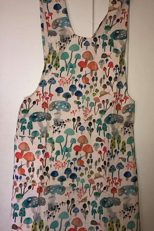 Pinafore Apron all over mushroom print