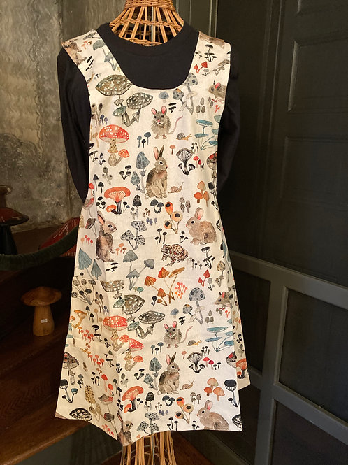Pinafore Apron in assorted mushroom prints