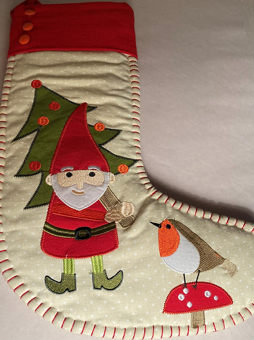Gnome with mushroom stocking