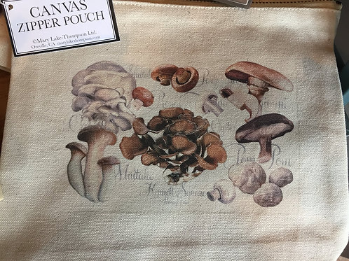 Canvas Zipper Pouch with our mushroom print