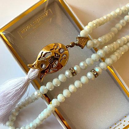 Pearl White Crystal Prayer Beads, Tasbih, Islamic Gift, Free Gift BOX