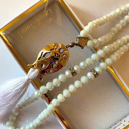 Pearl White Crystal Prayer Beads, Tasbih, Islamic Gift, Free Gift BOX