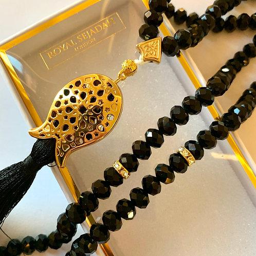 Black Crystal Prayer Beads, Tasbih, Islamic Gift, Free Gift BOX