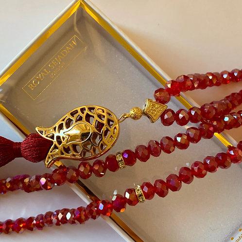 Red Crystal Prayer Beads, Tasbih, Islamic Gift, Free Gift BOX