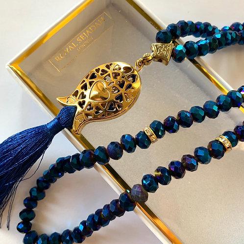 Dark Blue Crystal Prayer Beads, Tasbih, Islamic Gift, Free Gift BOX