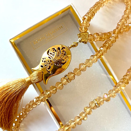 Golden Crystal Prayer Beads, Tasbih, Islamic Gift, Free Gift BOX